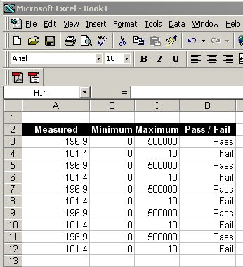 Measurement Results are sent directly to Excel spreadsheets
