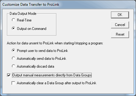 Customize Data Transfer to ProLink