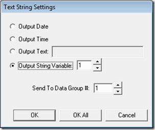 Output string variables directly to Data Groups in VisionGauge OnLine.