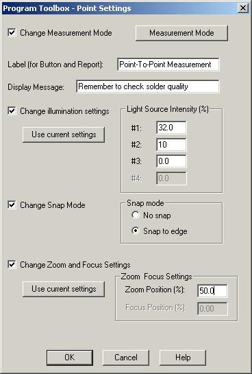 Program Toolbox Point Settings