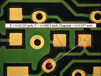 Inspection and measurement of PCB features.