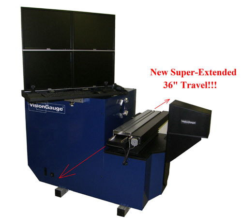 "Super-Extended 36"" travel horizontal digital optical comparator"