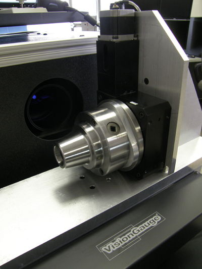 Rotary stage mounted with the axis of rotation aligned horizontally with a 5C Collet chuck on VisionGauge® Digital Optical Comparator