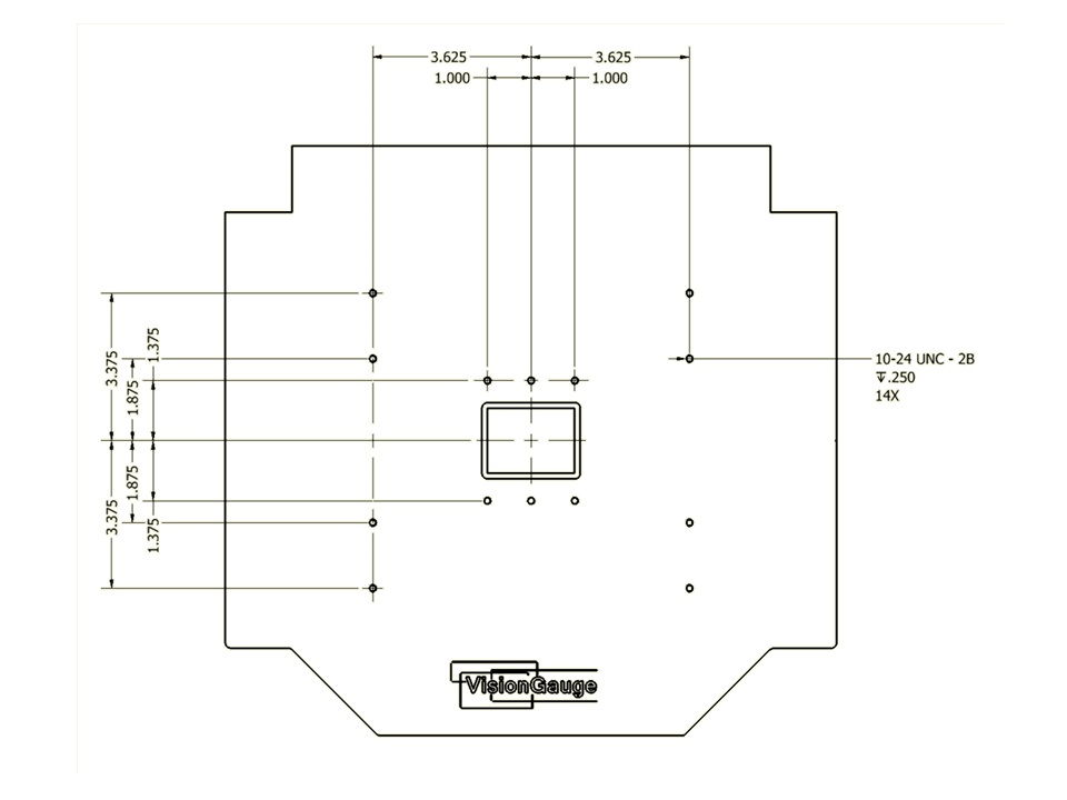 Desktop Configuration Base Plate Dimensions of a 300 Series VisionGauge Digital Optical Comparator