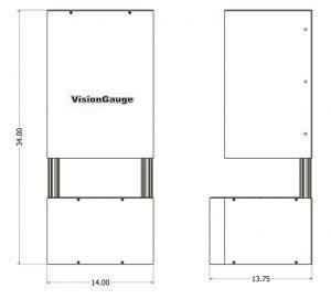 Desktop Configuration Dimensions of a 300 Series VisionGauge Digital Optical Comparator