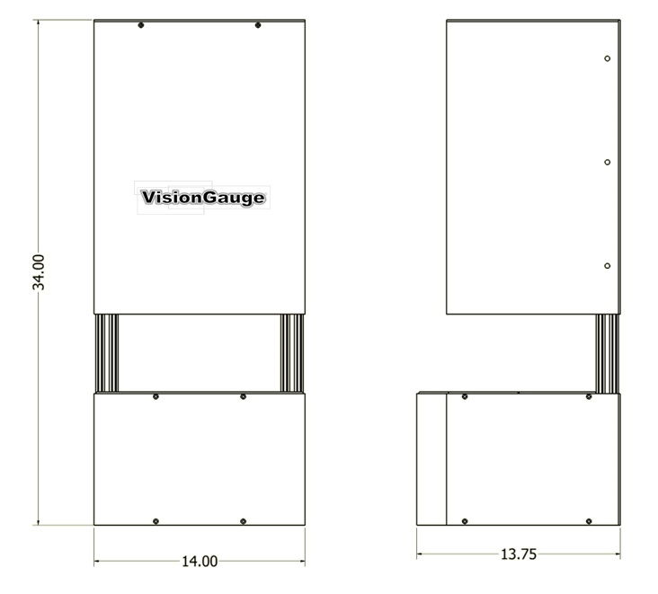 Desktop Configuration Dimensions of a 300 Series VisionGauge Digital Optical Comparator