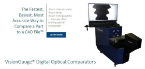 VisionGauge Digital Optical Comparators allow you to quickly, easily, and very accurately compare a part with its CAD drawing.