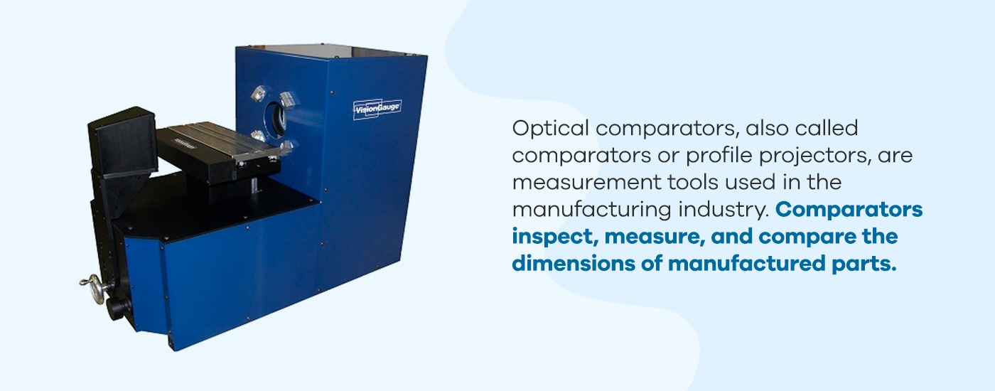 Comparators inspect, measure, and compare the dimensions of manufactured parts