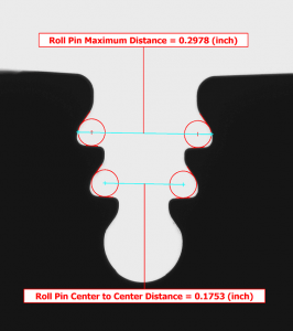 VisionGauge®'s Roll Pin distance measurement tool