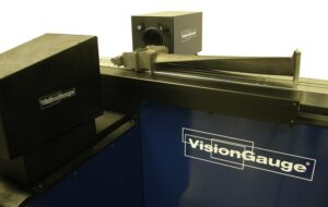 Super-Extended Travel 500 Series VisionGauge® Digital Optical Comparator inspecting fir tree / root forms on buckets