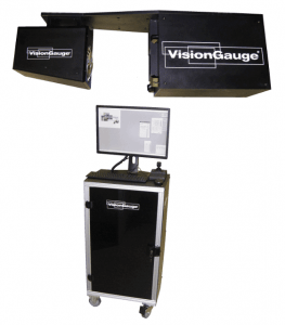 The VisionGauge® Standalone Inspection and Measurement System includes an inspection area connected to a remote workstation controlling the software and user-interface.