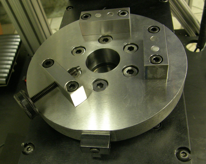 A customized workholding developed to complete a VisionGauge Digital Optical Comparator application