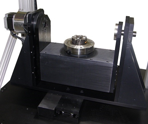 "The new ""Gen 2"" trunnion setup for the double-rotary assembly of the 700-series VisionGauge Digital Optical Comparator."