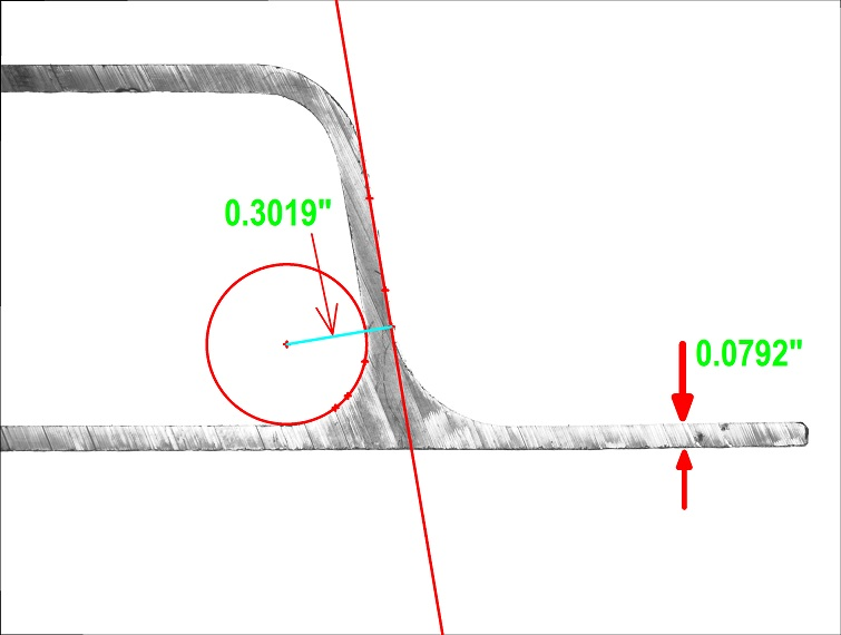 Extrusion measurement of curvature and thickness performed on the VisionGauge Digital Optical Comparator.