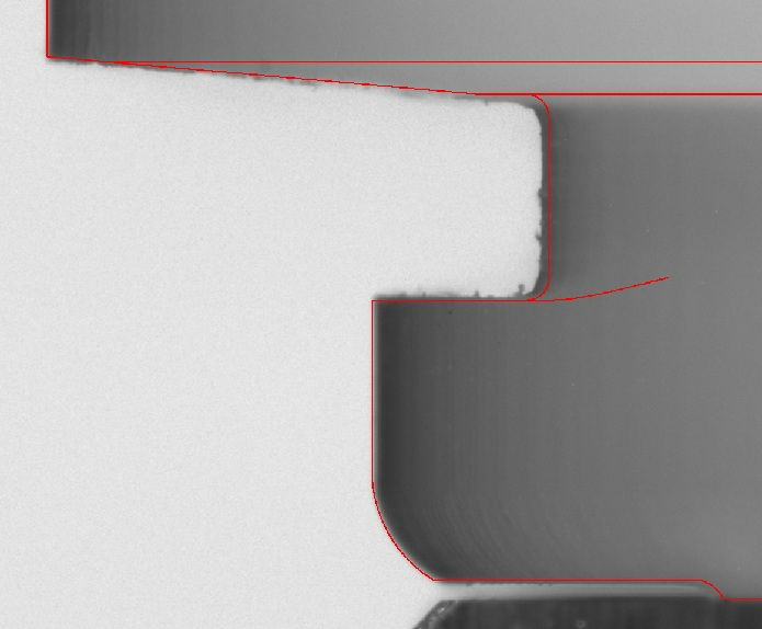 front-illumination of a part on a Digital Optical Comparator