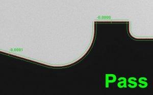 Profile tolerance Pass/Fail on the VisionGauge Digital Optical Comparator