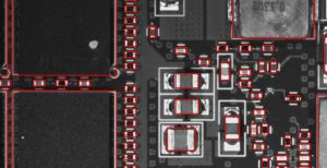 Inspection of Electronic Assembly / Populated Printed Circuit Board on VisionGauge Digital Optical Comparator