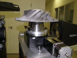 An aircraft engine impeller mounted on a VisionGauge® Digital Optical Comparator rotary stage/axis