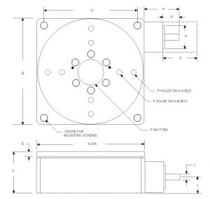 """Overall Outline of Rotary Stage included in """"VGDOC-30-RS"""" (different dimensions and configurations are available) on VisionGauge® Digital Optical Comparator"""